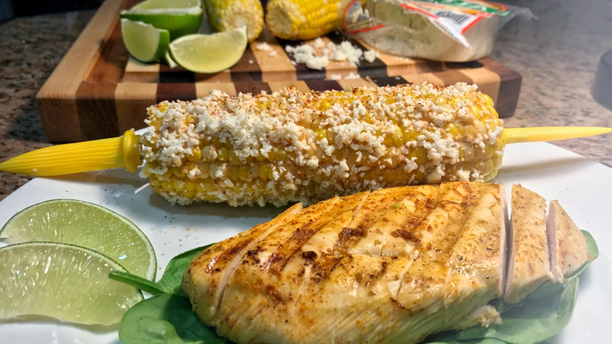 Grilled Honey-Lime Chicken with Mexican StreetCorn